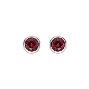 Bezel-Set Genuine Gemstone Stud Earrings in White, Yellow or Rose Gold - Talisman Collection Fine Jewelers