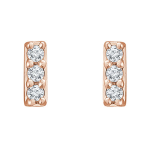 Diamond Bar Stud Earrings in White, Yellow or Rose Gold - Talisman Collection Fine Jewelers