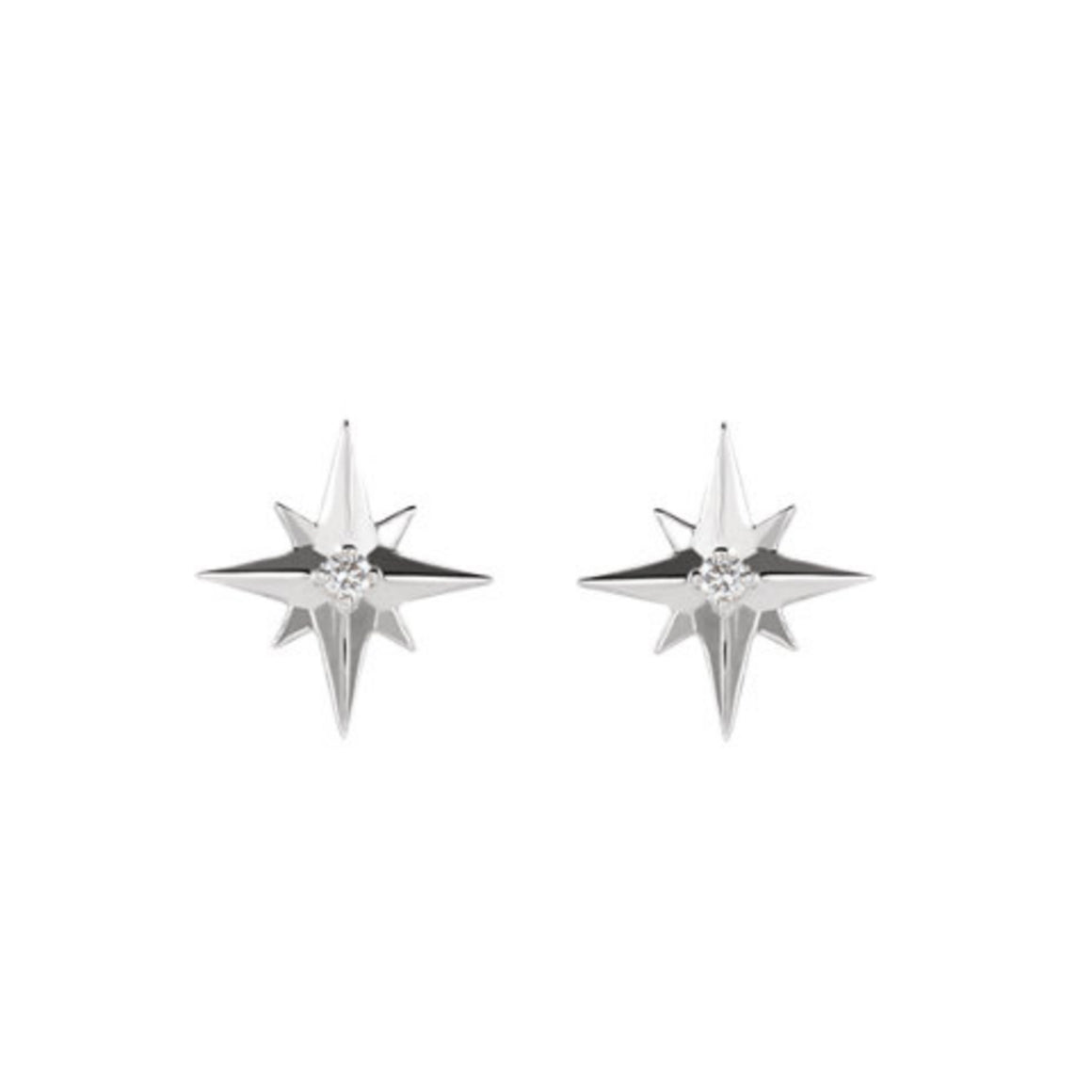 Diamond Starburst Stud Earrings in Gold, Platinum or Sterling Silver - Talisman Collection Fine Jewelers