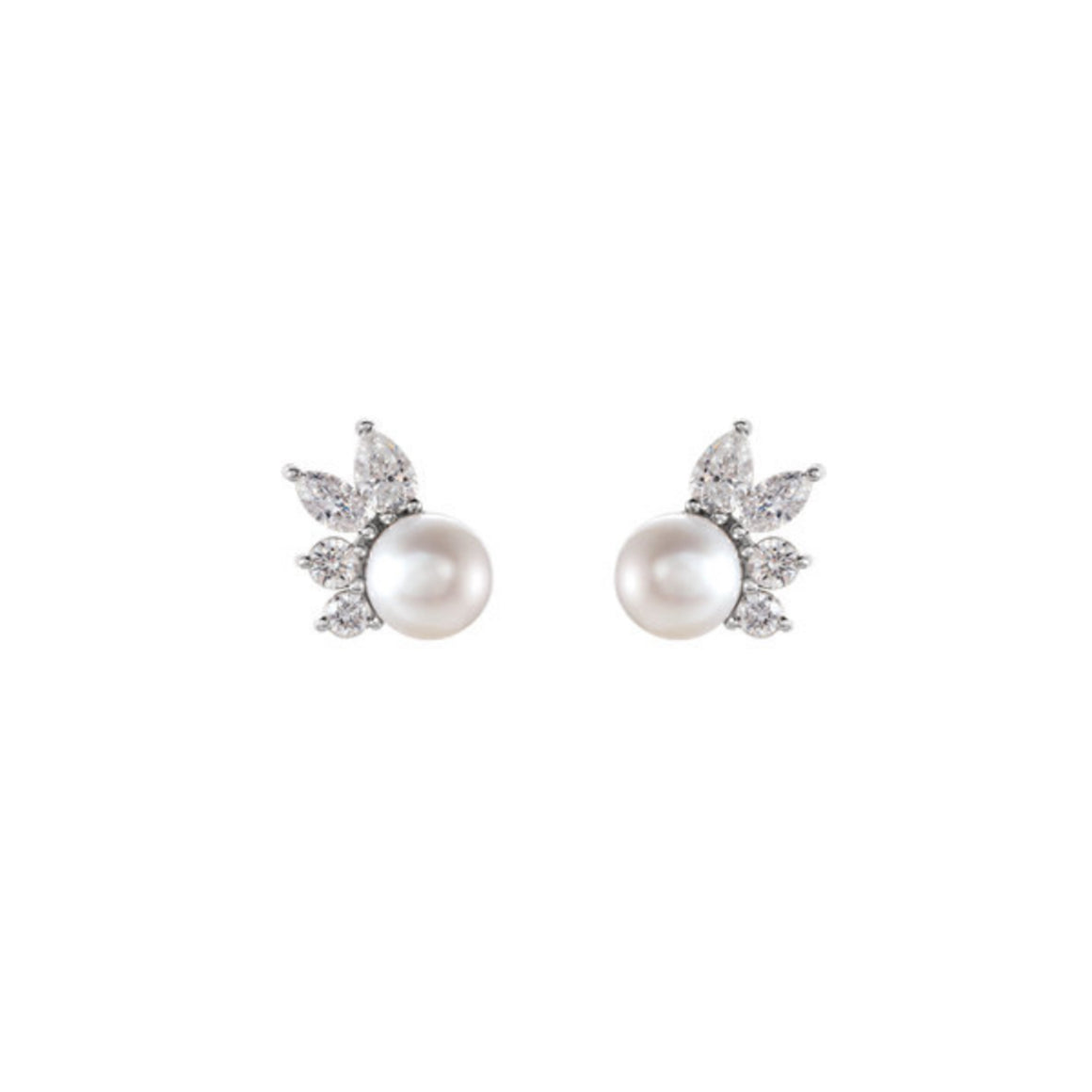 14k Gold Akoya Pearl Diamond Fan Earrings - Talisman Collection Fine Jewelers