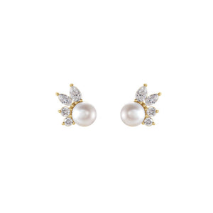 Akoya Pearl Diamond Fan Earrings in White, Yellow or Rose Gold - Talisman Collection Fine Jewelers