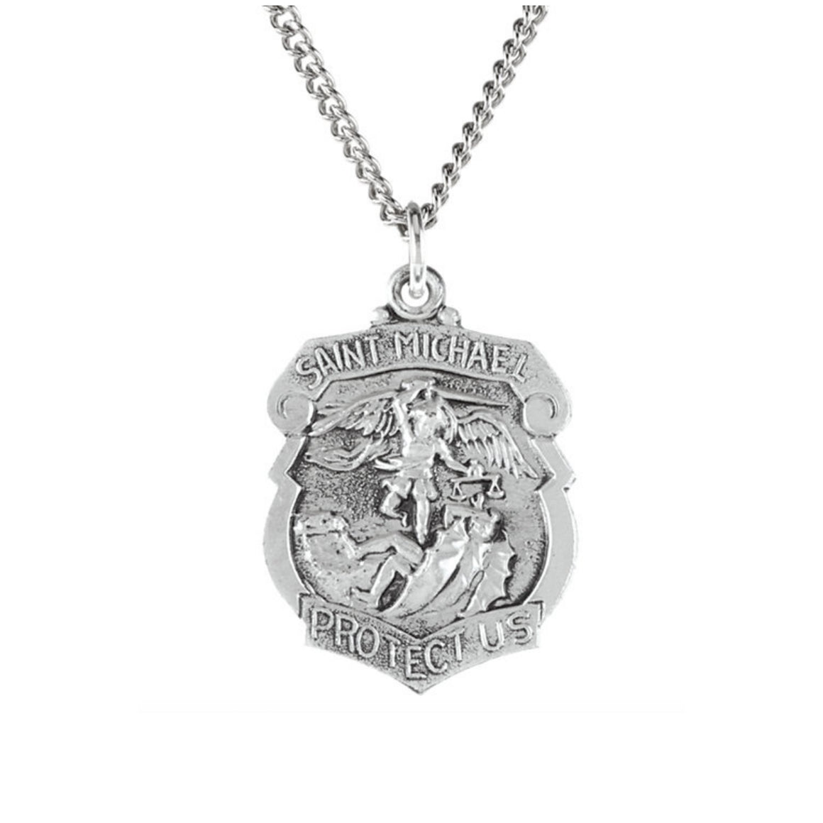 Sterling Silver St. Michael Shield Pendant - Talisman Collection Fine Jewelers