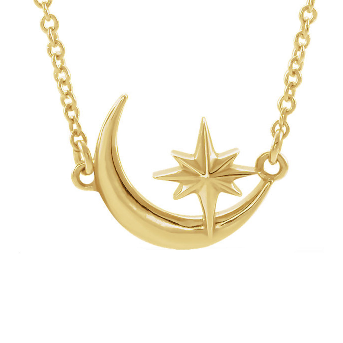 Crescent Moon & Star Necklace in White, Yellow or Rose Gold - Talisman Collection Fine Jewelers