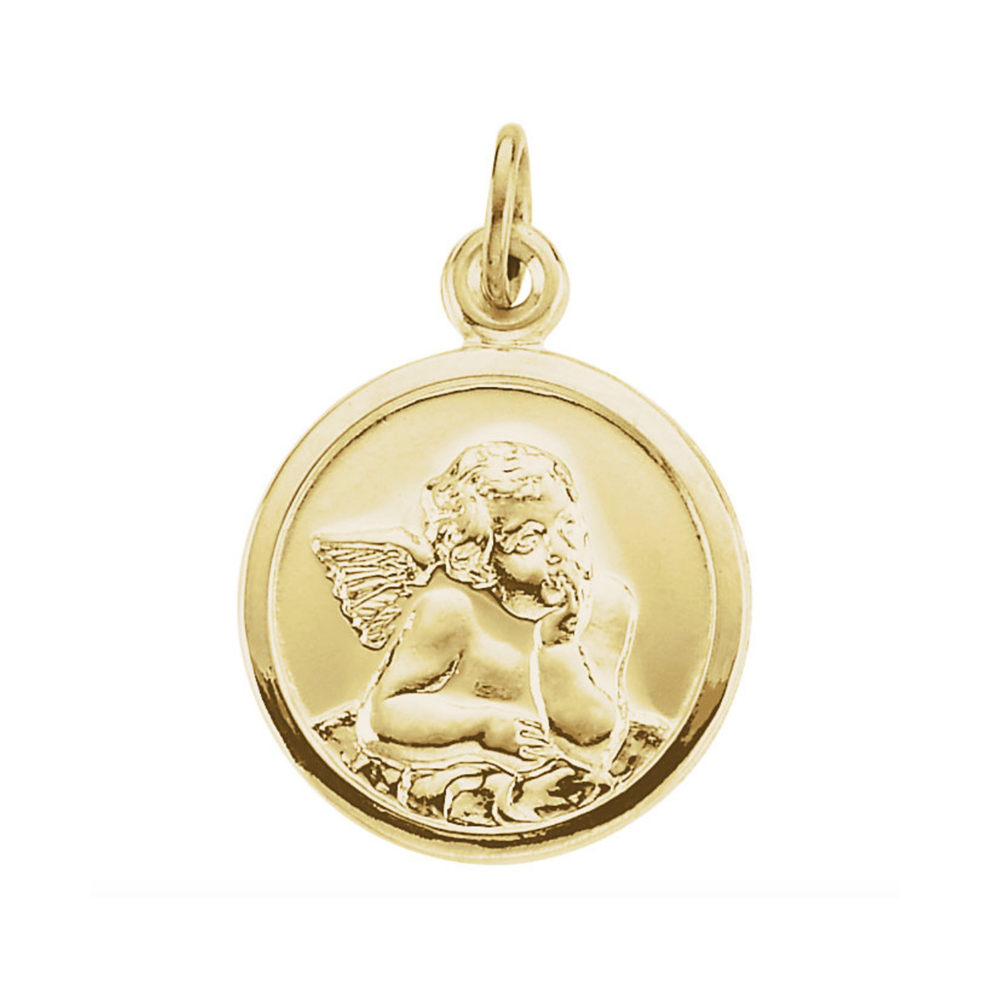 "14k Yellow Gold Cherub ""Guardian Angel"" Pendant - Talisman Collection Fine Jewelers"