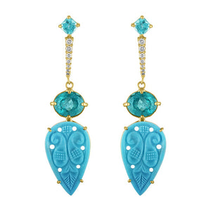 Turquoise, Apatite and Diamond Drop Earrings by Eden Presley - Talisman Collection Fine Jewelers