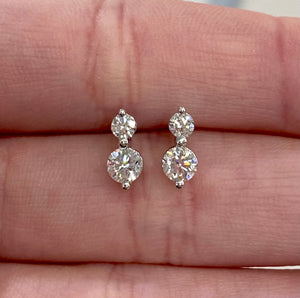Two Diamond Drop Earrings in White, Yellow or Rose Gold