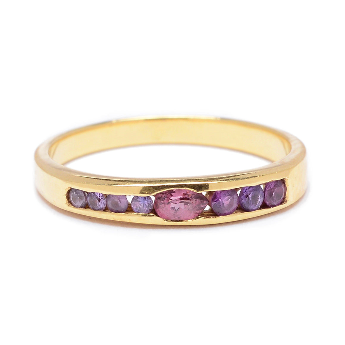 """Legolas"" Channel Set Pink Sapphire Band by Unhada - Talisman Collection Fine Jewelers"