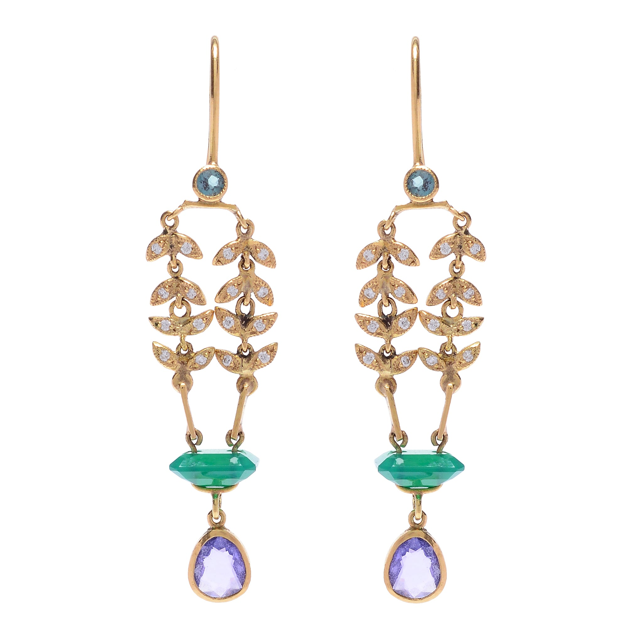 "Purple Sapphire and Carved Agate ""Enchanted Garden"" Earrings by Unhada - Talisman Collection Fine Jewelers"