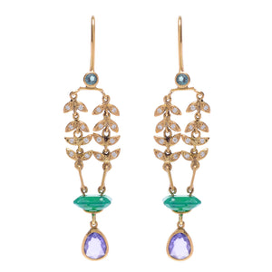 "Purple Sapphire and Carved Agate ""Enchanted Garden"" Earrings by Unhada"