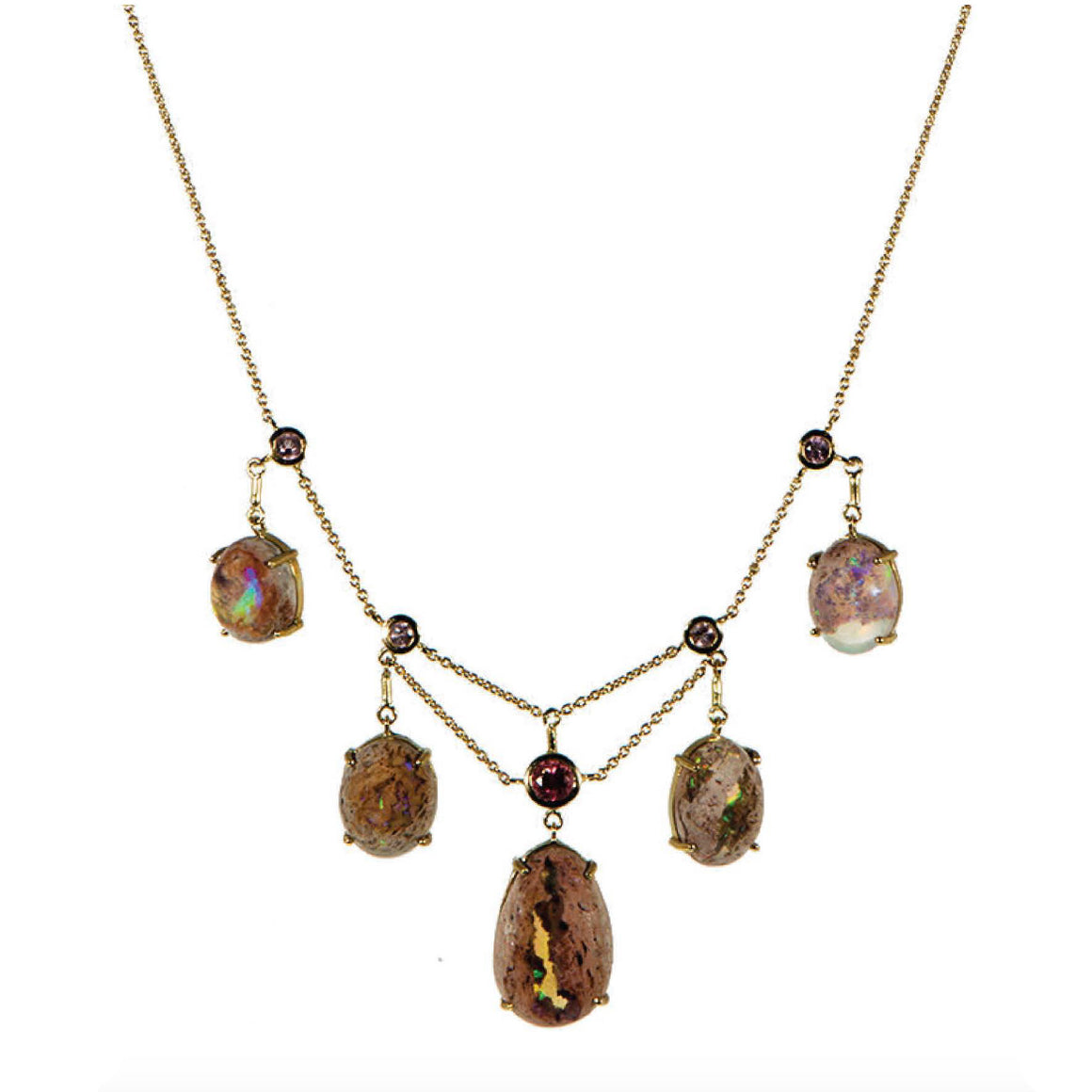"""Noctluca"" Fringe Mexican Matrix Opal Necklace by Unhada - Talisman Collection Fine Jewelers"