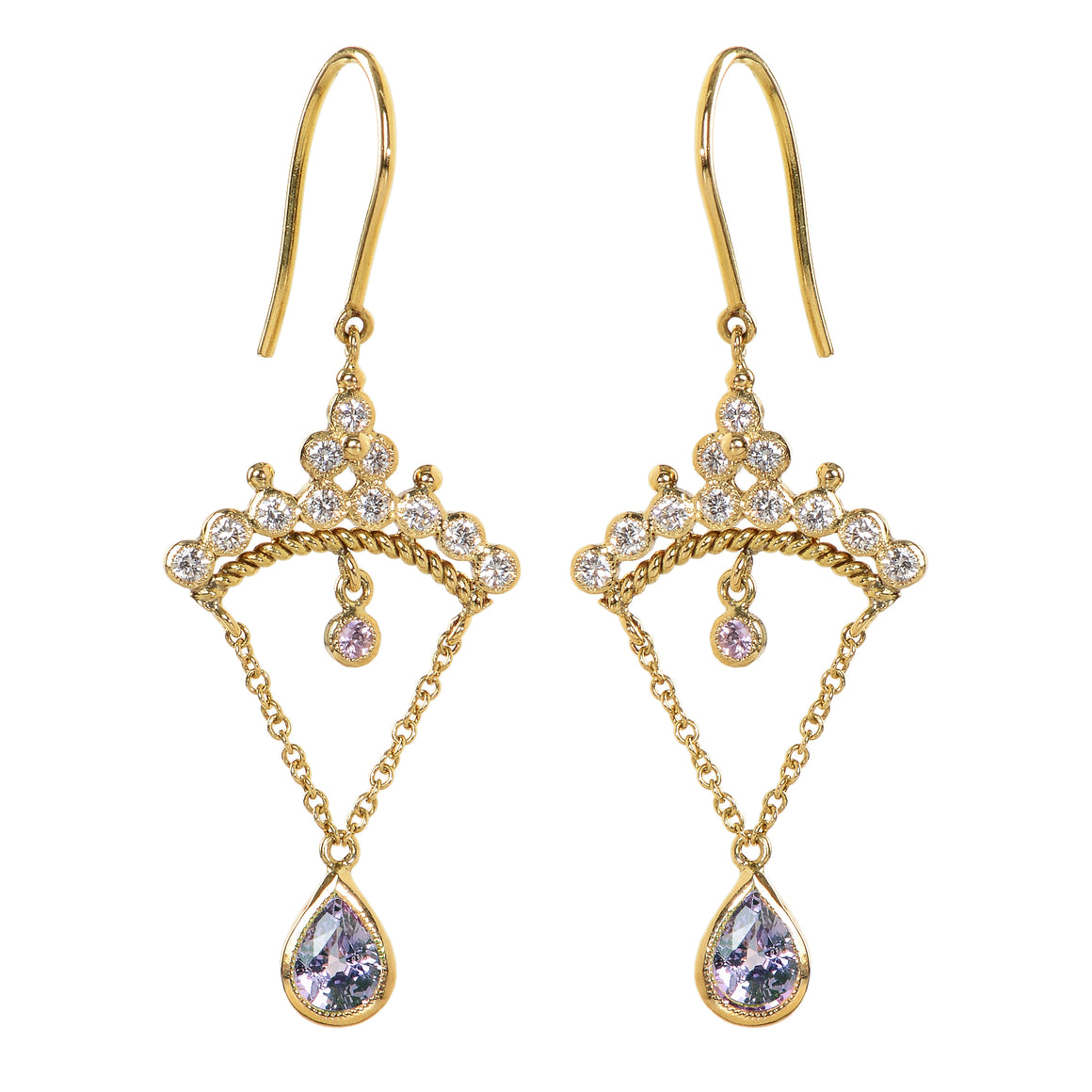 """Diadem"" Purple Sapphire Earrings by Unhada"