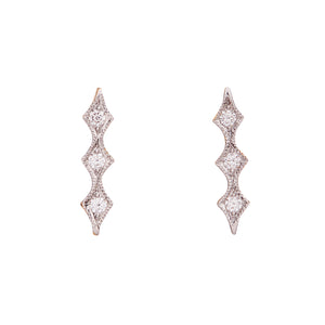 """Three Elements"" Diamond Studs by Unhada - Talisman Collection Fine Jewelers"
