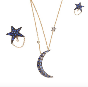 """Blue Moon"" Sapphire and Diamond Moon Necklace by Unhada - Talisman Collection Fine Jewelers"