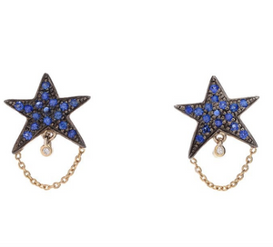 """Tiny Dancer"" Blue Sapphire Studs by Unhada - Talisman Collection Fine Jewelers"