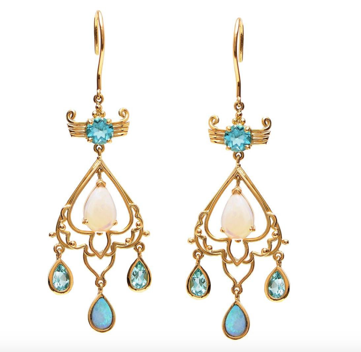 "Apatite and Opal ""Dewdrop"" Earrings by Unhada - Talisman Collection Fine Jewelers"