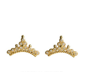 """Diadem"" 18k Yellow Gold Diamond Stud Earrings by Unhada - Talisman Collection Fine Jewelers"