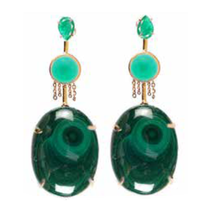 """Mariani"" Malachite and Emerald Earrings by Unhada - Talisman Collection"