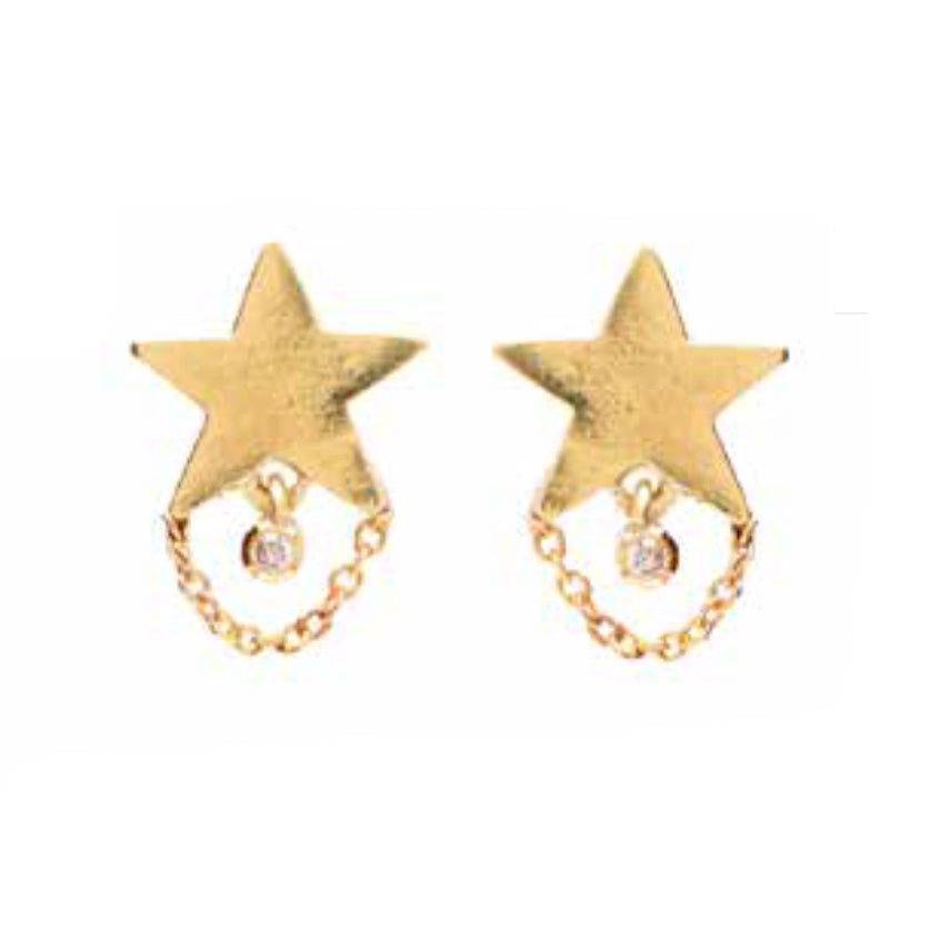 """Teeny Dancer"" 18k Yellow Gold Studs by Unhada - Talisman Collection Fine Jewelers"