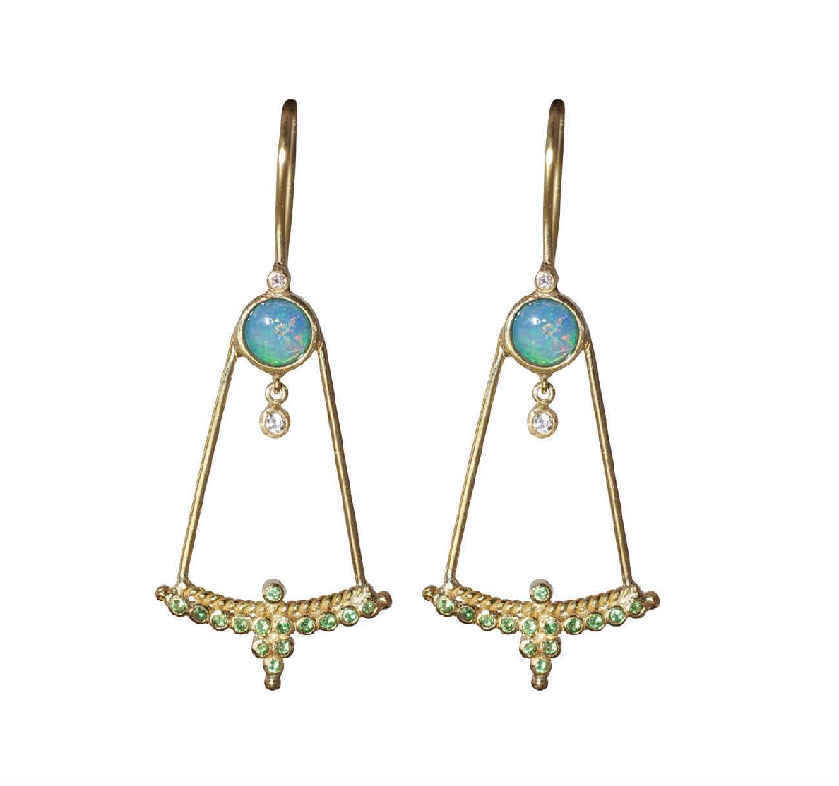"Tsavorite and Opal ""Upsidedown"" Diadem Earrings by Unhada - Talisman Collection Fine Jewelers"