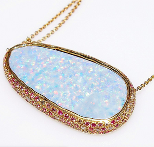 """Watercolor Ballet"" Australian Opal Necklace by Unhada - Talisman Collection"