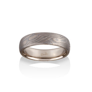 Chris Ploof Maple Mokume Ring in 14K Palladium White Gold and Meteorite