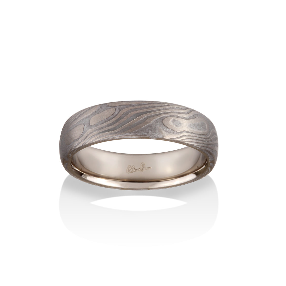 Maple Mokume and Meteorite Ring by Chris Ploof - 18k White Gold - Talisman Collection Fine Jewelers