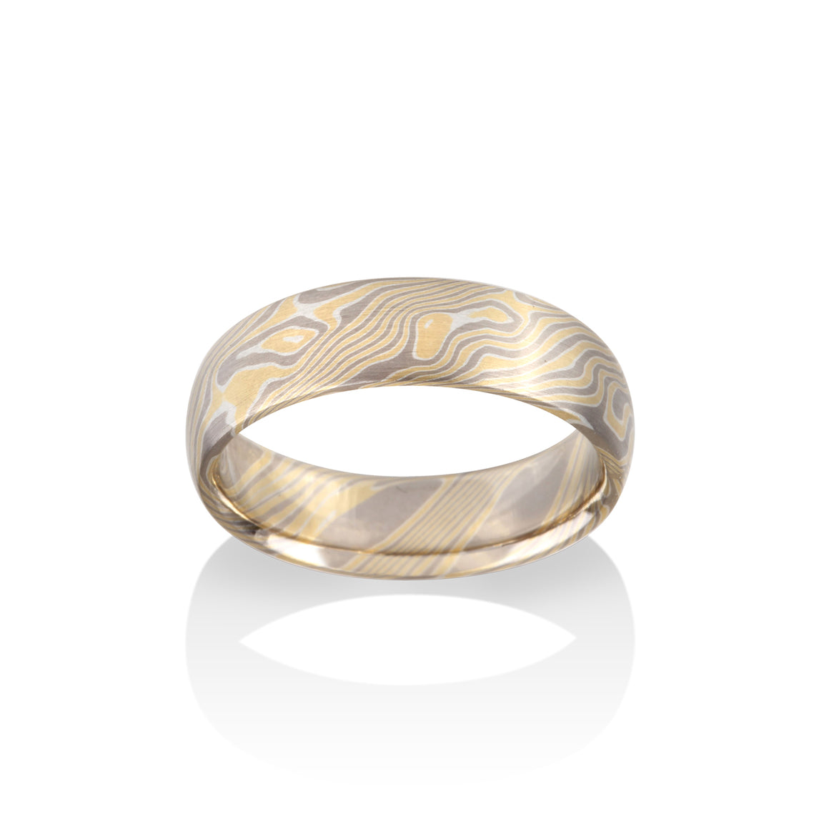 Chris Ploof Birch 18K Yellow Gold, Pd500 and Silver Mokume Ring