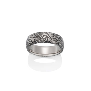 Wood Grain Oxidized Damascus Steel Ring by Chris Ploof - Talisman Collection Fine Jewelers