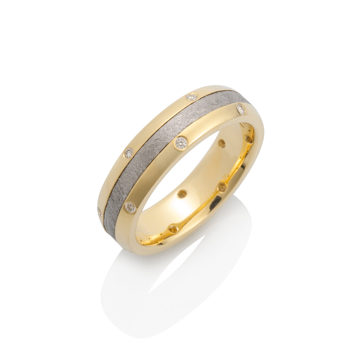 Chris Ploof Canopus Meteorite 18k Yellow Gold and Diamond Ring