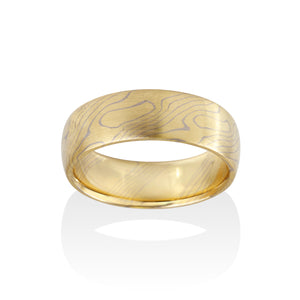 Chris Ploof Aspen 18K Yellow Gold and 14K Pd White Gold Mokume Ring