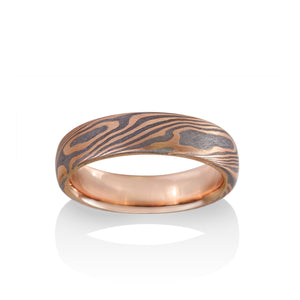 Maple Mokume and Meteorite Ring by Chris Ploof - 14k Red Gold - Talisman Collection Fine Jewelers
