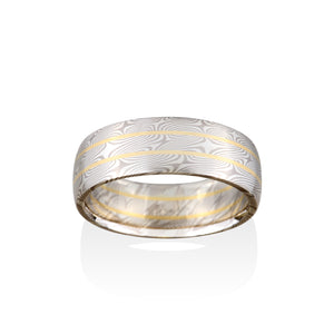 Chris Ploof Willow Pd500 and Silver with 18K Yellow Gold Rails Mokume Ring
