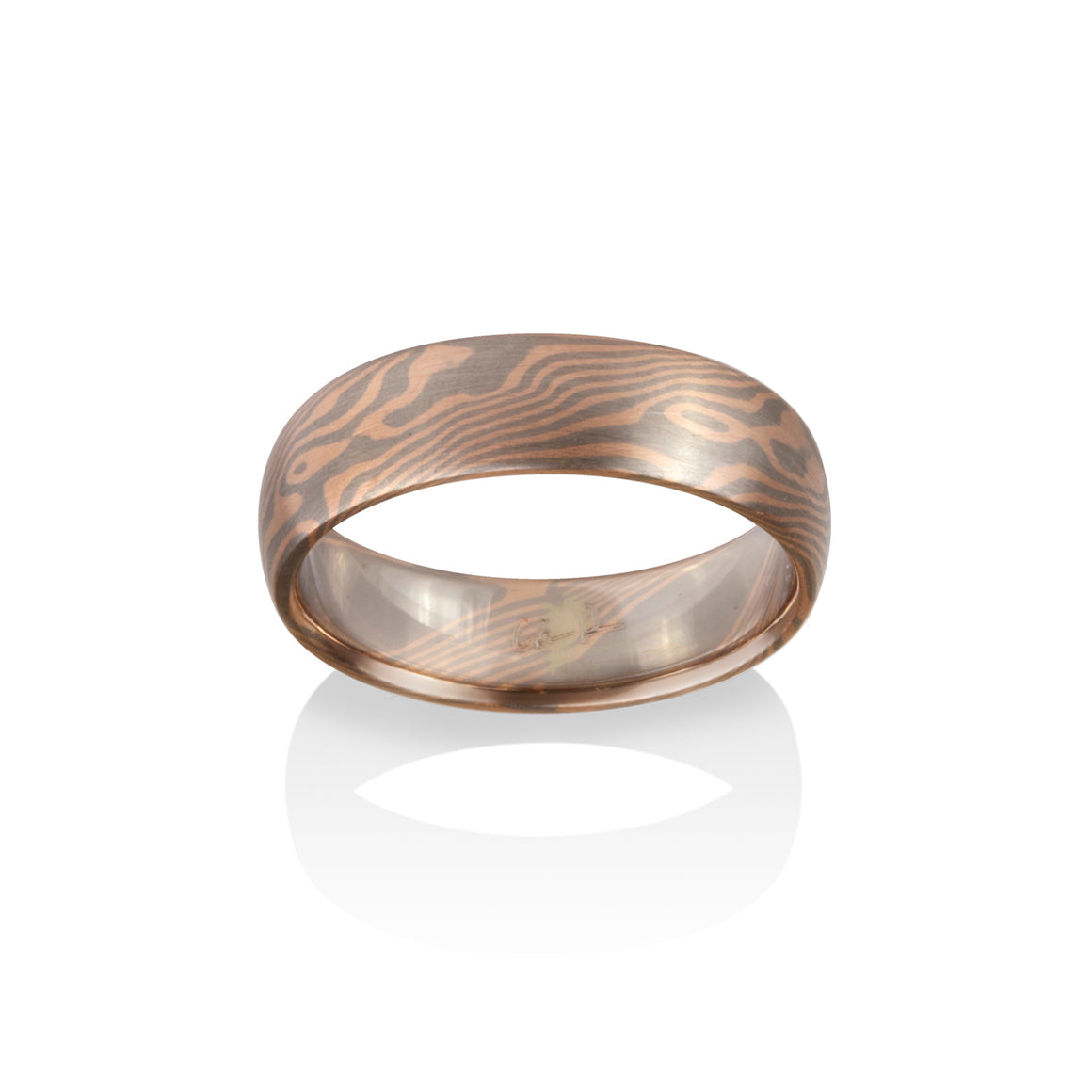 Chris Ploof Maple 14K Red Gold and Pd500 Mokume Ring