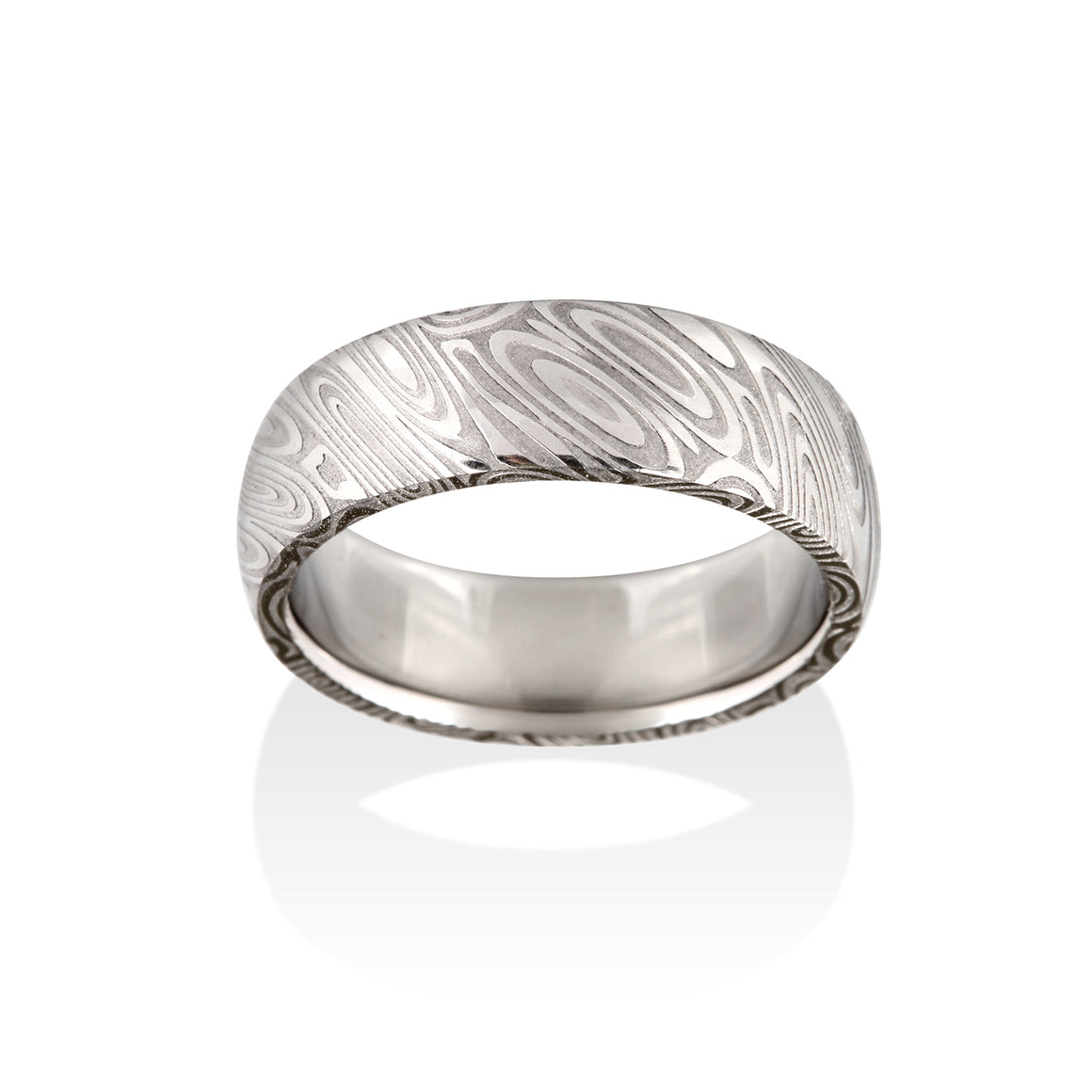 Wood Grain Damascus Steel Ring by Chris Ploof - Talisman Collection Fine Jewelers