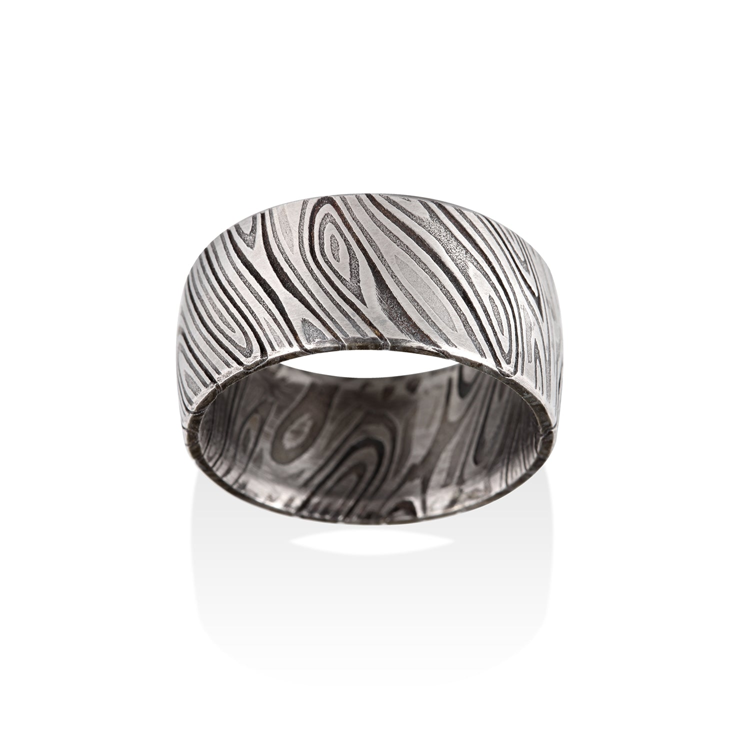 Triple White Damascus Steel Ring by Chris Ploof - Talisman Collection Fine Jewelers
