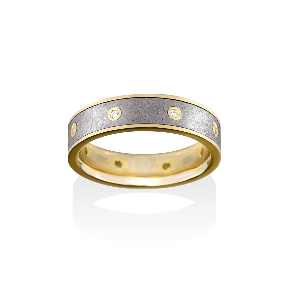 Chris Ploof Sirius 18k Yellow Gold and Diamond Meteorite Ring