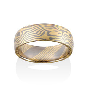 Chris Ploof Maple 18K Yellow Gold and Pd500 Mokume Ring