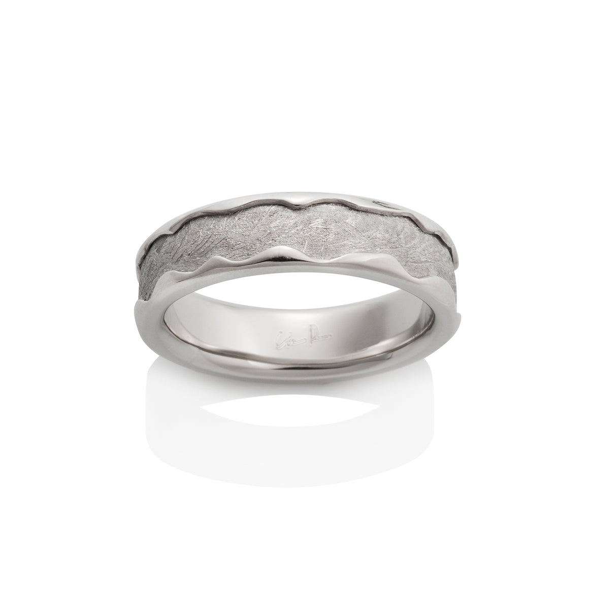 Chris Ploof 18K Palladium White Gold Arcturus Meteorite Ring