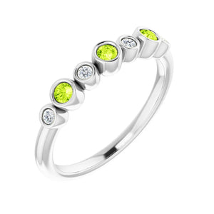 Platinum Peridot and Diamond Ring
