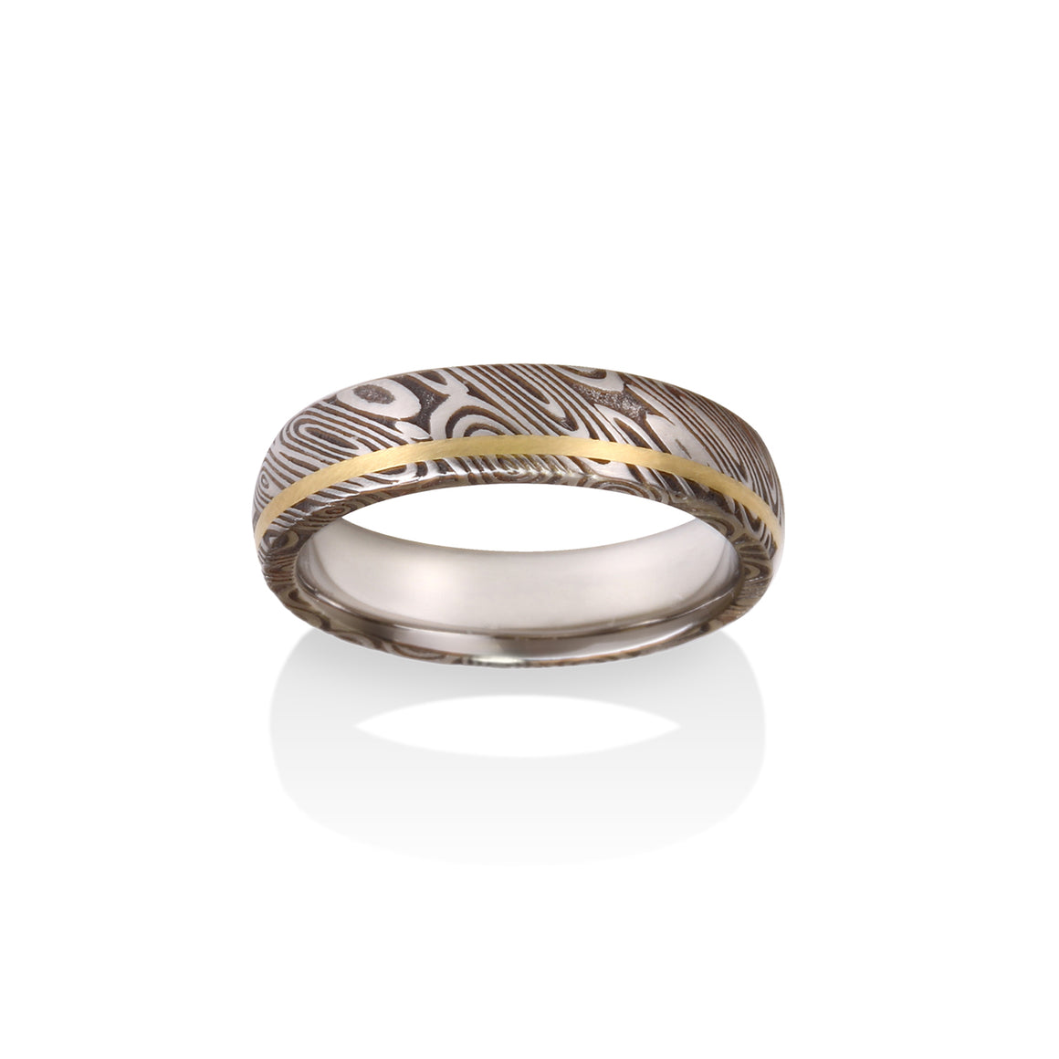 Wood Grain Damascus Steel Ring by Chris Ploof - 18k Yellow Gold Inlay - Talisman Collection Fine Jewelers