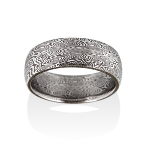 Remington Oxidized Damascus Steel Ring by Chris Ploof - Talisman Collection Fine Jewelers