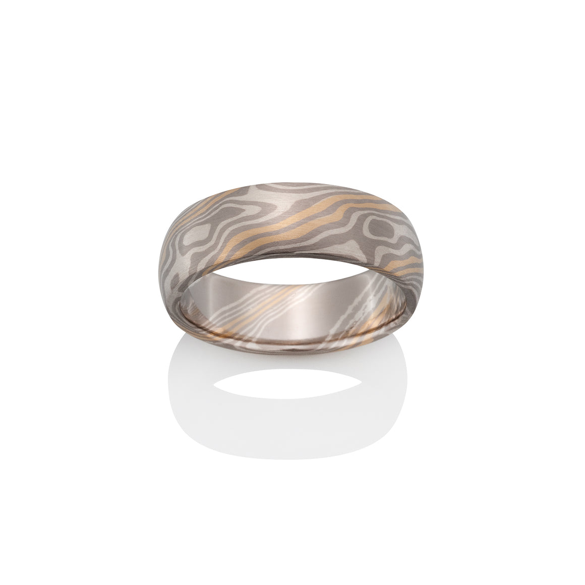 Chris Ploof Beech Pd500, 18K Yellow Gold and Silver Mokume Ring