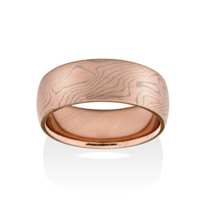 Chris Ploof Aspen 14K Red Gold and 14K Pd White Gold Mokume Ring