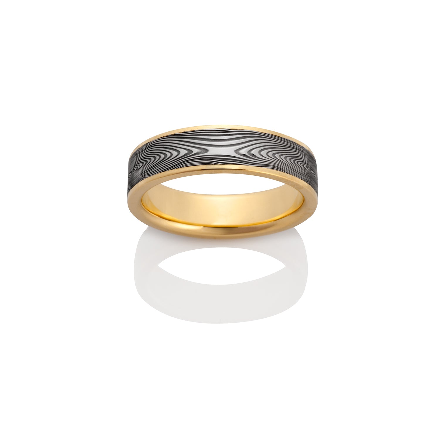 Infinity Damascus Steel and 18k Yellow Gold Ring by Chris Ploof - Talisman Collection Fine Jewelers