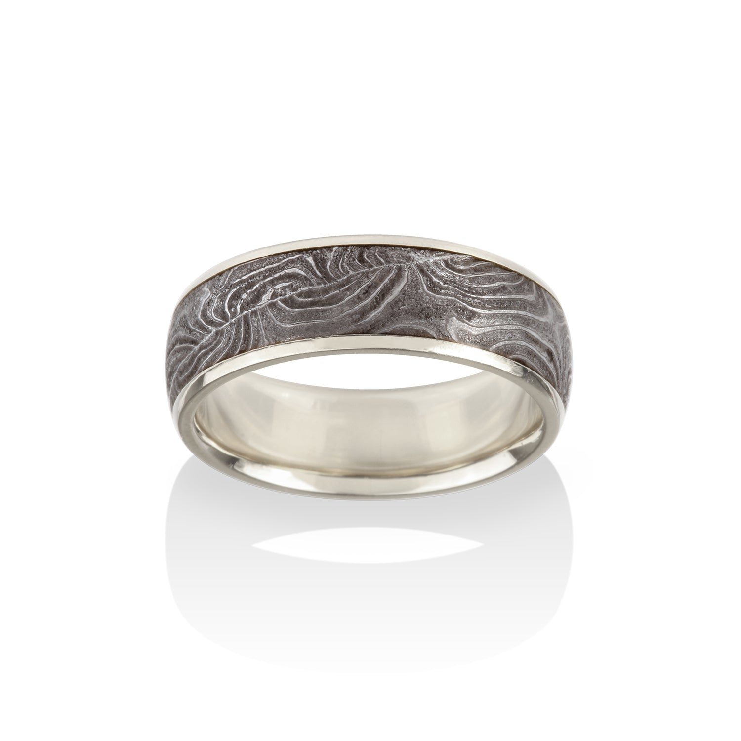 Channel Double Barrel Damascus Ring by Chris Ploof - Talisman Collection Fine Jewelers