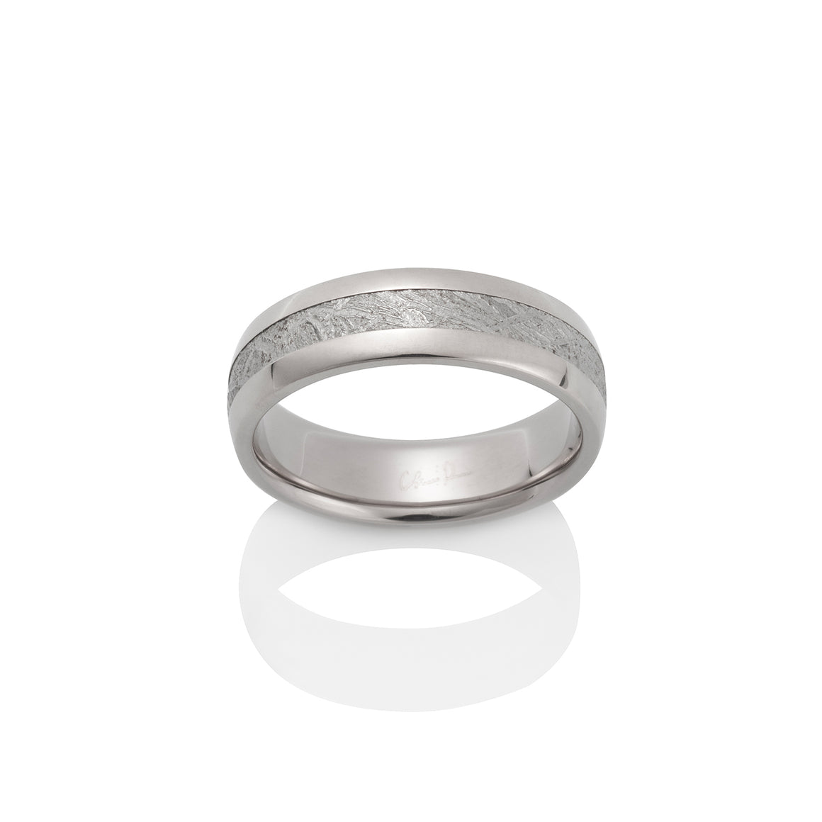 Chris Ploof Canopus Meteorite 18k Palladium White Gold Ring