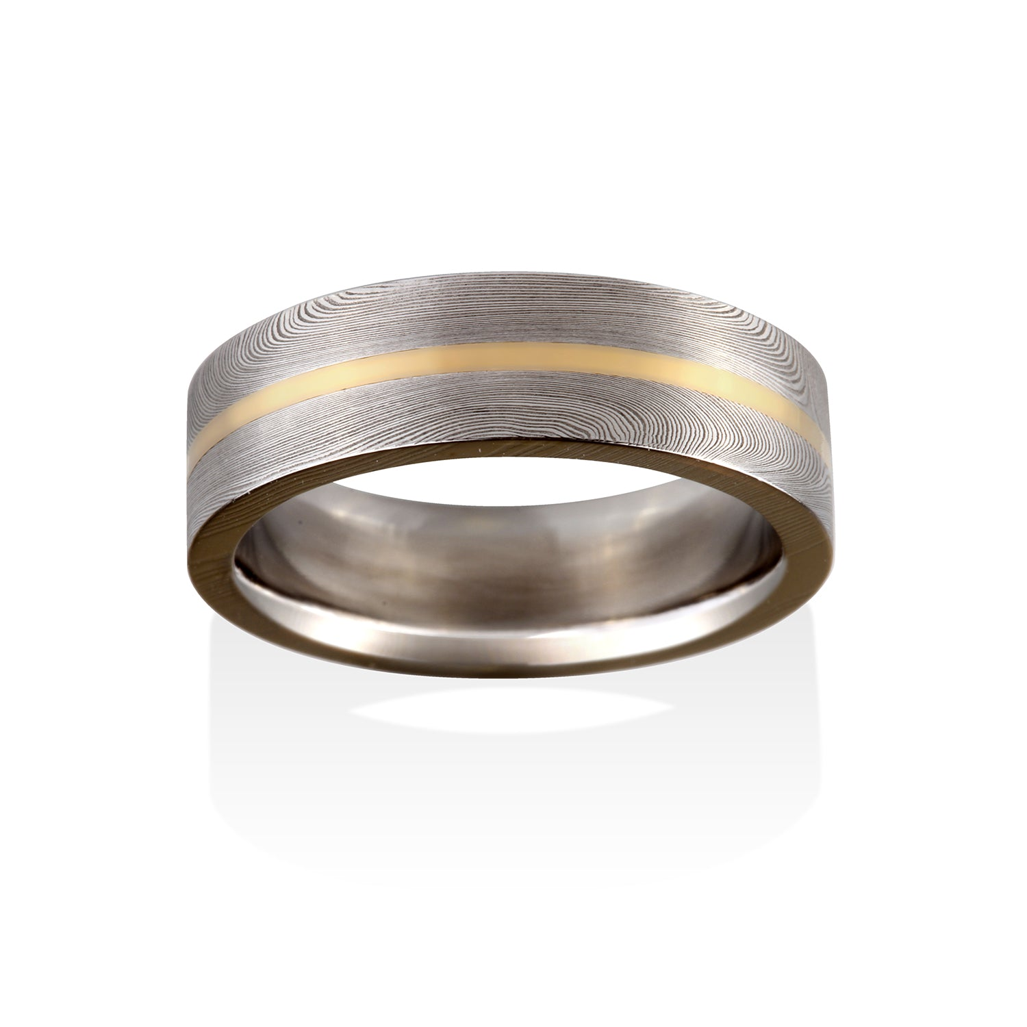Starlight Damascus Ring by Chris Ploof - 18K Yellow Gold Inlay - Talisman Collection Fine Jewelers
