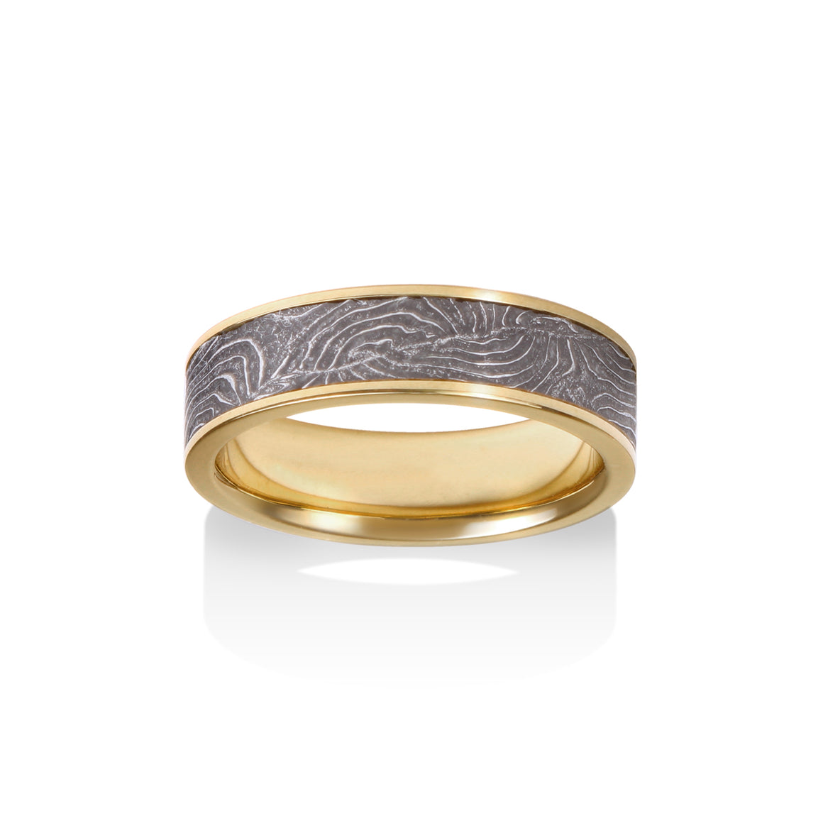 Channel Double Barrel Damascus Ring by Chris Ploof - 18K Yellow Gold - Talisman Collection Fine Jewelers