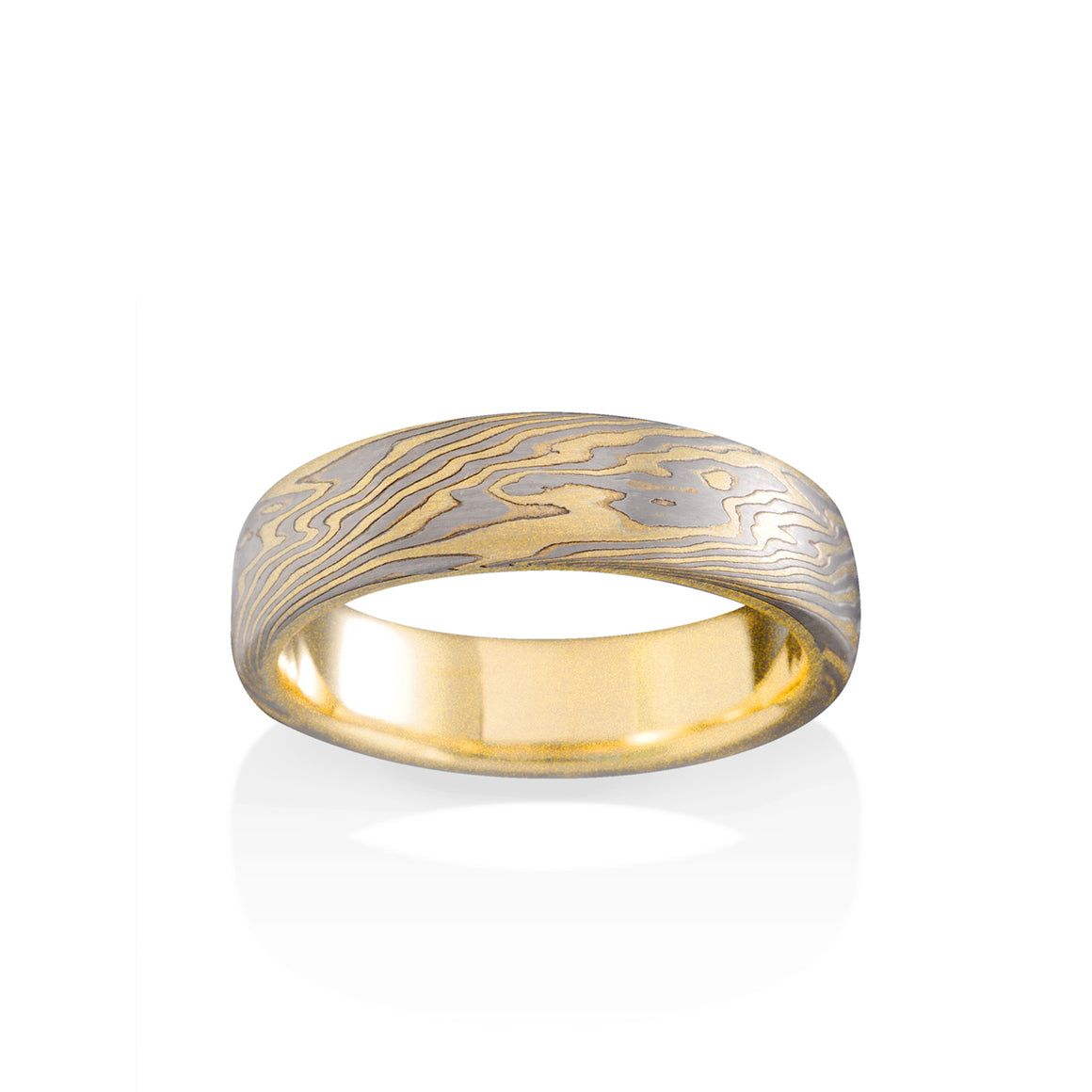 Chris Ploof Oak 18K Yellow Gold, Pd500 and Silver Mokume Ring