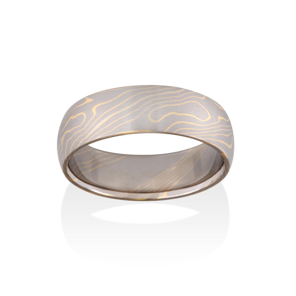 Chris Ploof Aspen 14K Pd White Gold and 18K Yellow Gold Mokume Ring